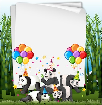 파티 테마에 귀여운 동물들과 함께 종이 서식 파일