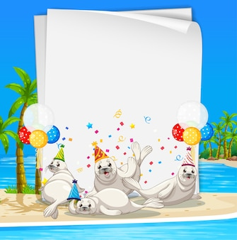 Paper template with cute animals in party theme