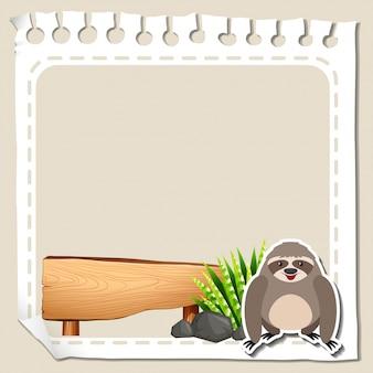 Бумажный шаблон с симпатичной ленивкой