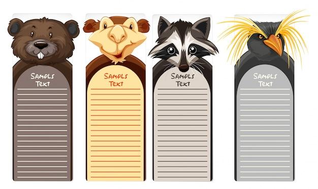 Modello di carta con diverse facce di animali