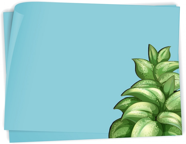 Paper template with green leaves on blue paper