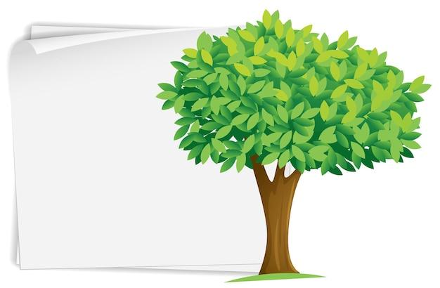 Modello di carta con albero verde