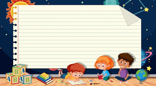 Paper template with kids reading books and space