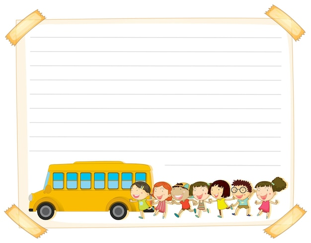 Paper template with kids and schoolbus