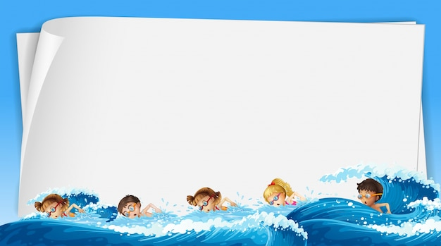 Paper template with kids swimming  in ocean