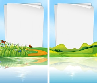 Paper template with park scene in background