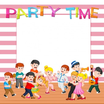 Paper template with people having party