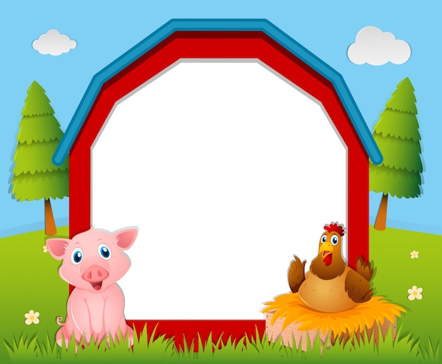 Paper template with pig and chicken