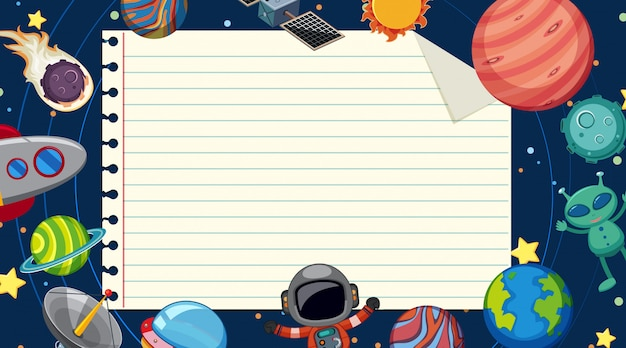 Paper template with planets in space background