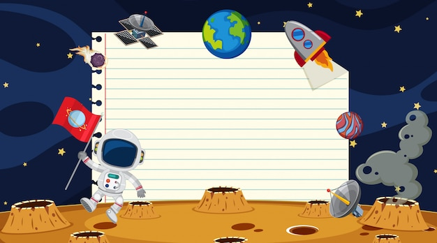 Paper template with space background