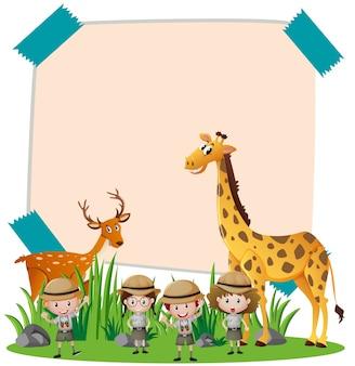 Бумажный шаблон с дикими животными и детьми