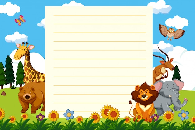 Paper template with wild animals in the park