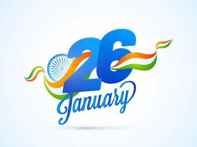 Paper text 26 january on national tricolors wave, indian republic day background.