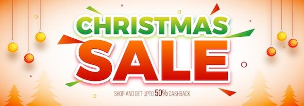 Paper text christmas sale on social media header
