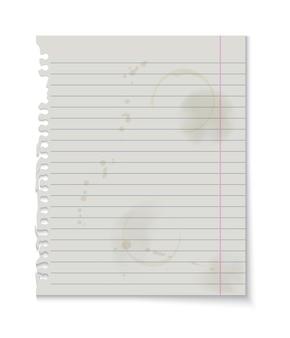 白い背景、グランジ汚れたノートブックページに分離された紙のテクスチャの背景。リアルなベクトル図