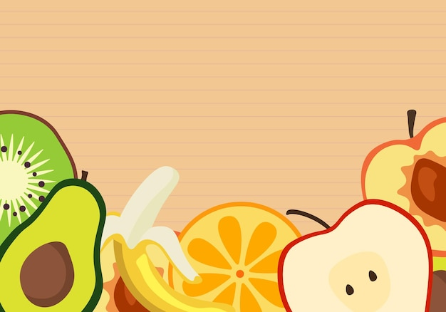 Paper texture background with fruit. vector illustration. abstract background.