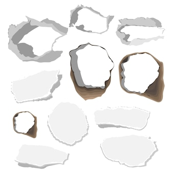 Paper torn hole set