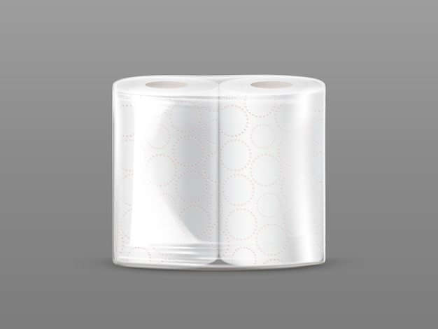 Paper towel package mockup with transparent wrapping isolated on grey background.