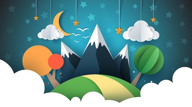 ペーパートラベルイラスト太陽、雲、丘、山、鳥。