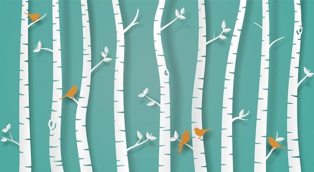 종이 예술 개념에 밝은 녹색 배경 디자인에 종이 나무와 새 가족.