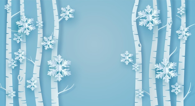 Paper tree, snow and origami ice flakes
