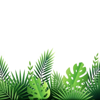 Paper tropical leaves flowers background on white with exotic plants and tropic bushes