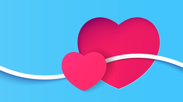 Paper two heart with line connection celebrate vector illustration background