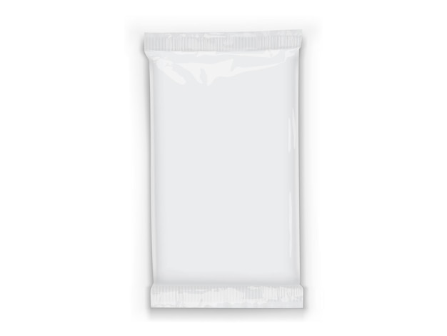 Paper white flow packaging with transparent shadows isolated