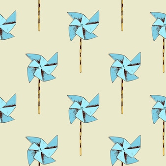 Paper windmill pattern. pinwheel toy and seamless background.