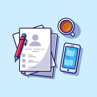 Carta con caffè, telefono e penna icona del fumetto illustrazione. concetto dell'icona dell'oggetto di affari isolato. stile cartone animato piatto