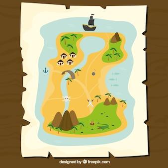 Carta con mappe tesoro di pirata colorato
