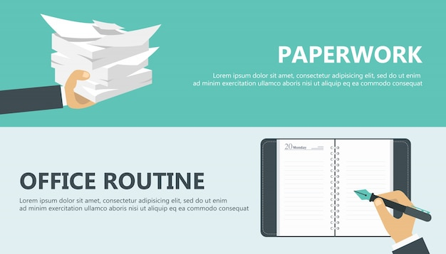 Paper work and office routine
