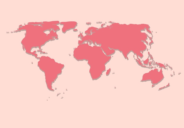 Paper world map on pink background vector illustration