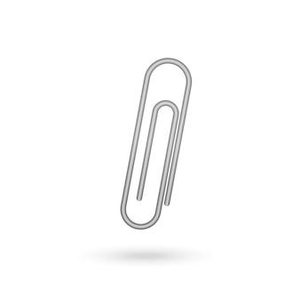 白のペーパークリップアイコン。ベクトルイラスト