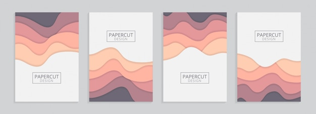 Papercut a4 background with wavy shapes set