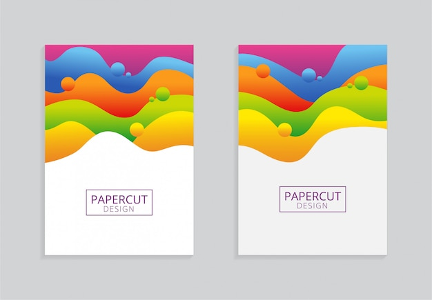 Papercutスタイルでカラフルなa4用紙の背景デザイン