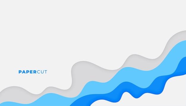 青いビジネスカラーデザインのペーパーカットの背景