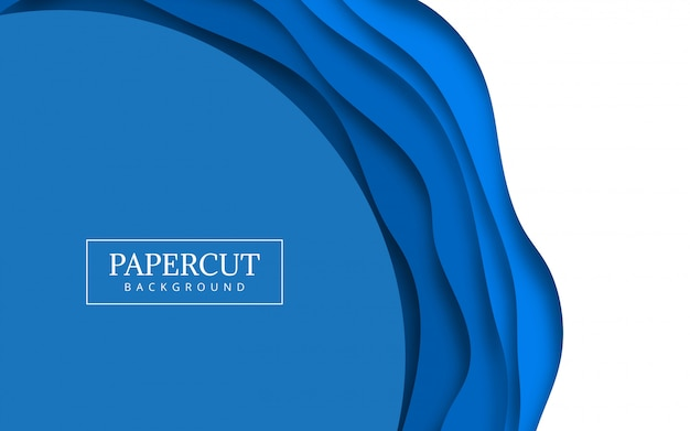 Papercut blue wave design illustration