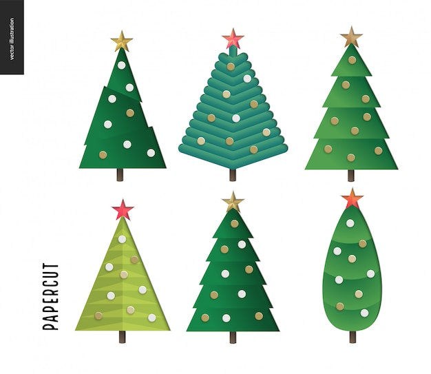 Papercut - christmas trees set