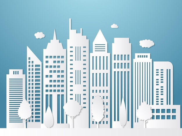 ペーパーカットの街。折り紙の都市景観の白いシルエットと影のビジネスオフィスの屋外の壁紙。