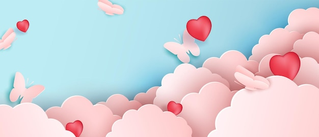 Papercut design,  paper clouds with butterflies. pink cloud and blue background. Premium Vector