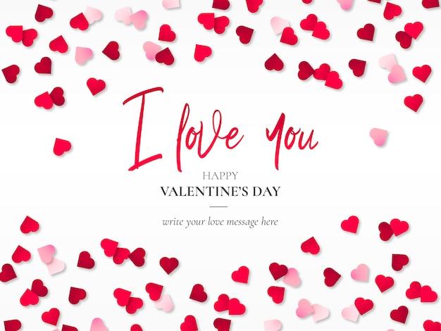 Papercut heartsと美しいバレンタインの背景