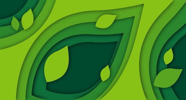 녹색 그라데이션 배경의 페이퍼 컷 잎