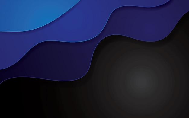 青の抽象的なpapercutの幾何学的な背景。波状の層が付いている装飾のpapercut。