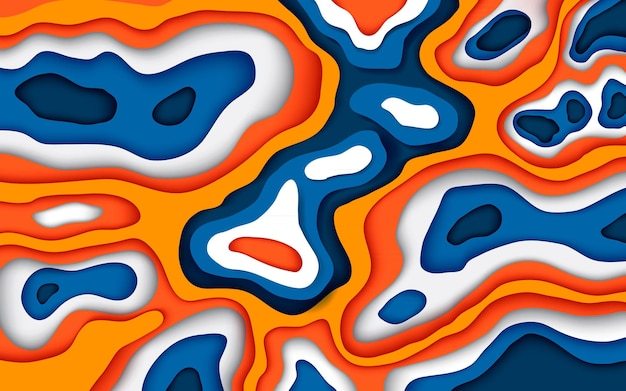 Papercut style abstract wavy blue and orange background