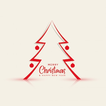 Papercut style line christmas tree background
