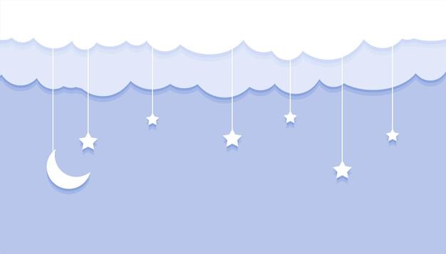 Papercut 스타일 달 별과 구름 배경