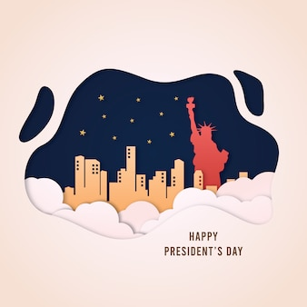 Papercut vector style illustration of presidents day