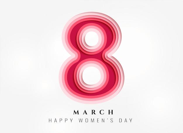 Papercutスタイルで幸せな女性の日の背景