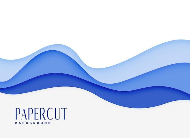 Синие волнистые воды стиль papercut фон